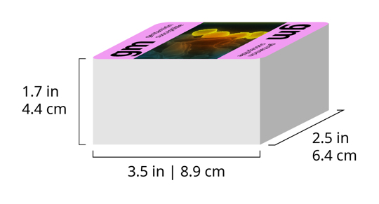 A deck with labeled dimensions. 3.5 inches by 2.5 inches by 1.7 inches.