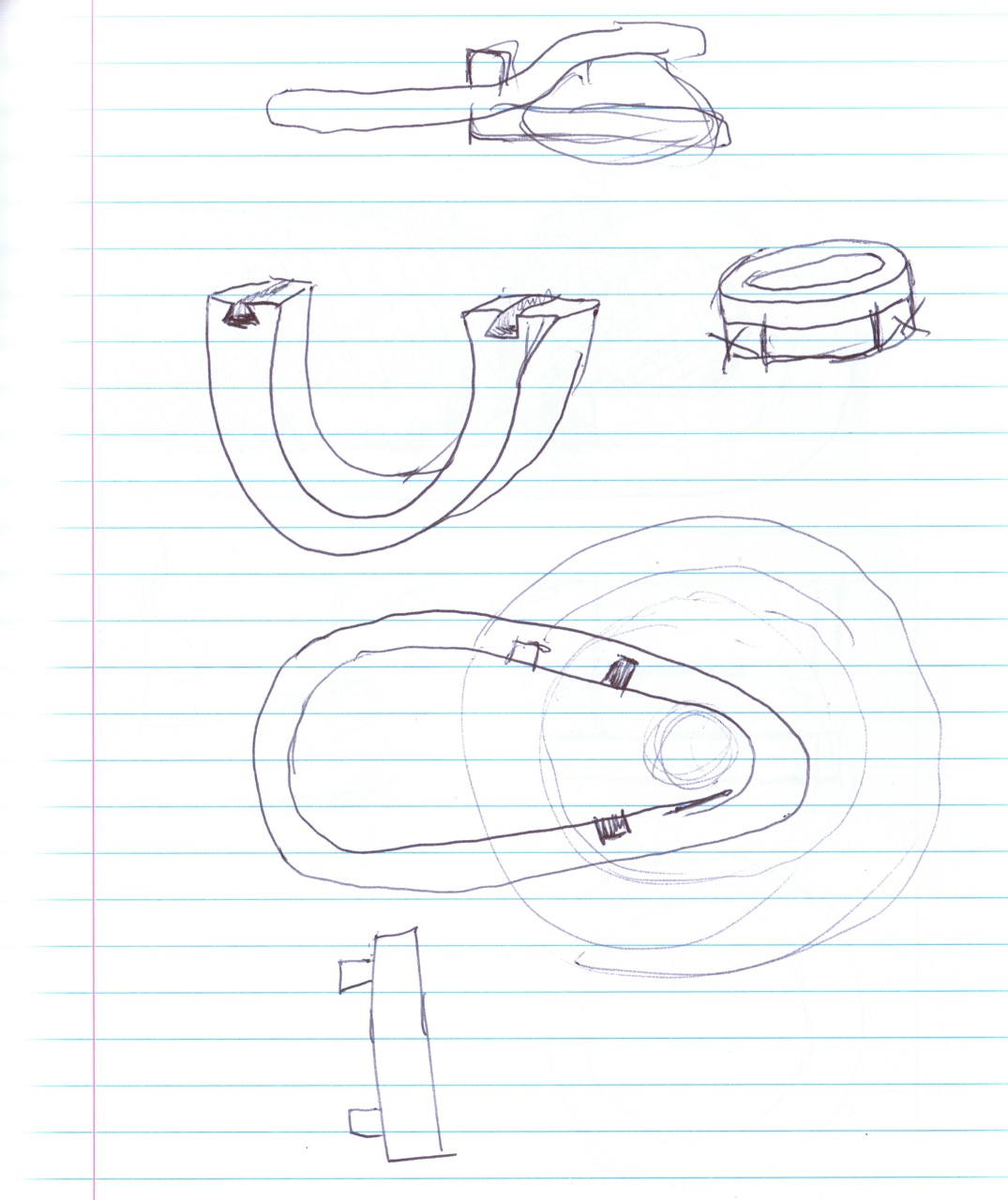 various sketches of interlocking forms