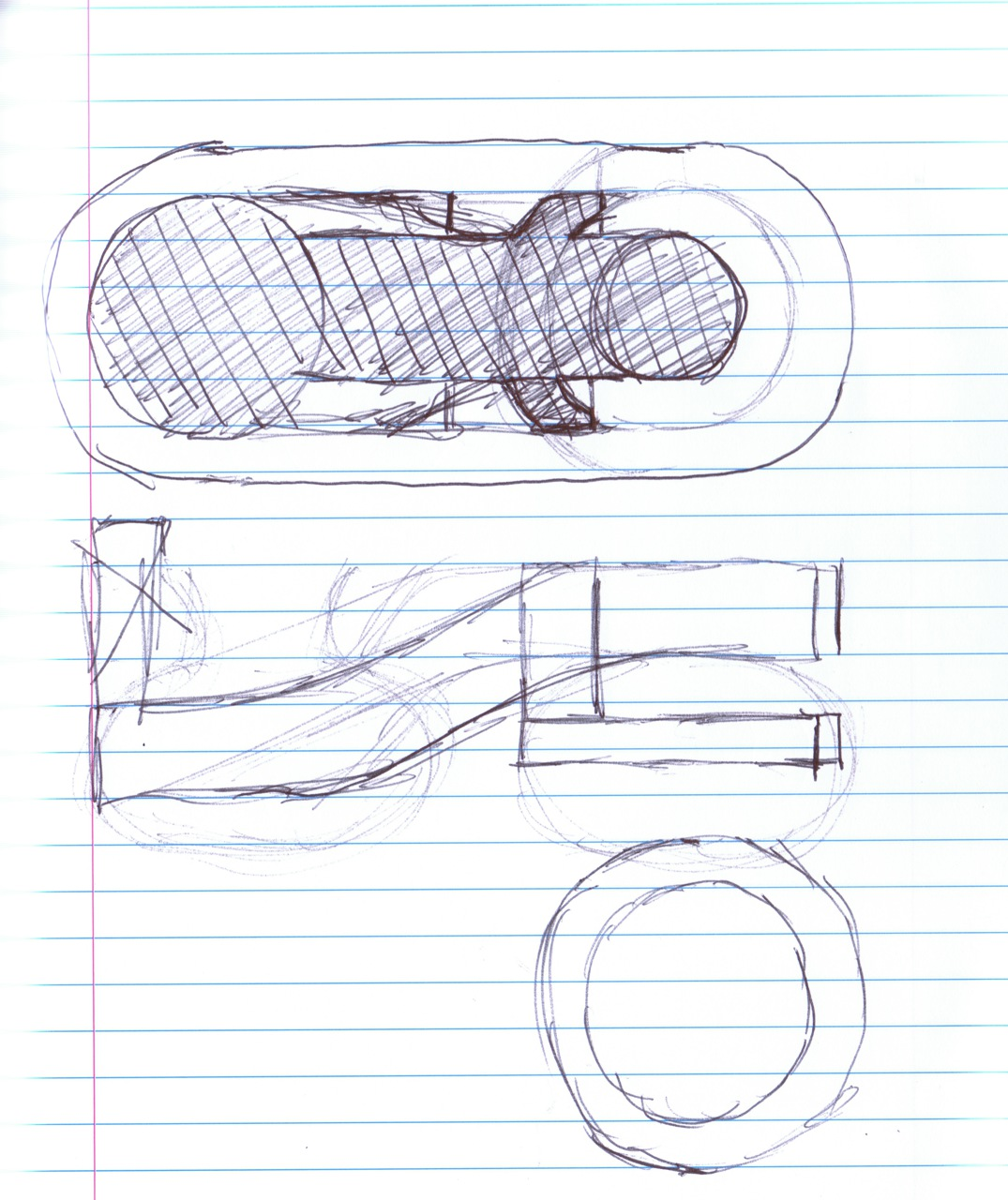 sketches from different angles of door lever