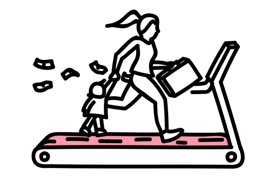 Illustration of woman running on treadmill with child in one hand and suitcase in the other while money flies out of her pocket.