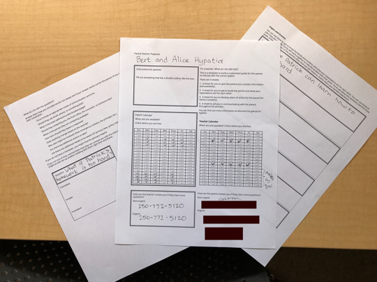 Sheets of paper with spaces for immigrant parents and school staff to fill out.