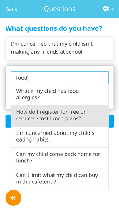 Screenshot of the Springboard webapp. The user is presented with a dropdown of suggested questions to ask based on what they have typed so far.